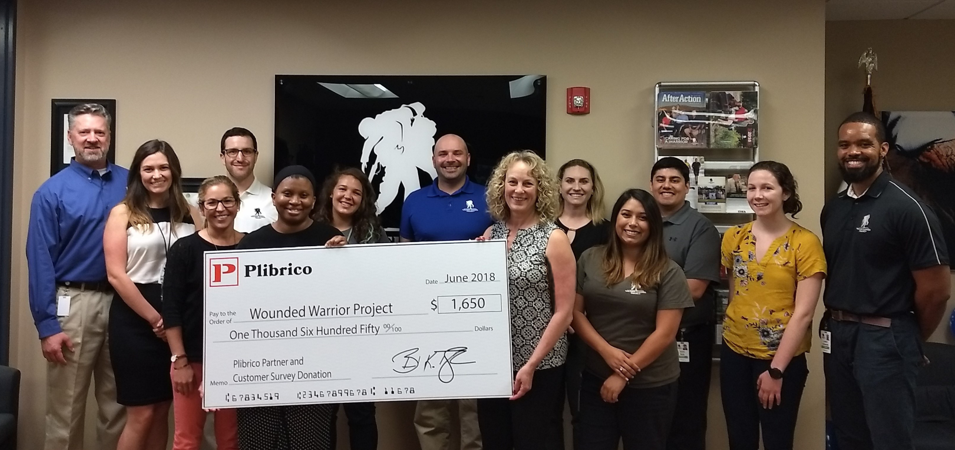 Plibrico - Wounded Warrior Project Donation 7-2018